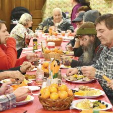 GILLIAN JONES — THE BERKSHIRE EAGLE People eat at one of the Berkshire Food Project's free annual Thanksgiving dinners featuring a traditional Thanksgiving meal, including, turkey, mashed potatoes, squash, stuffing and pie. The dinner had two seatings featuring a meal at 1 pm and another at 4 pm inside the First Congregational Church in North Adams. The project prepares for 400 meals and requires dozens of volunteers. Monday, November 19, 2018.