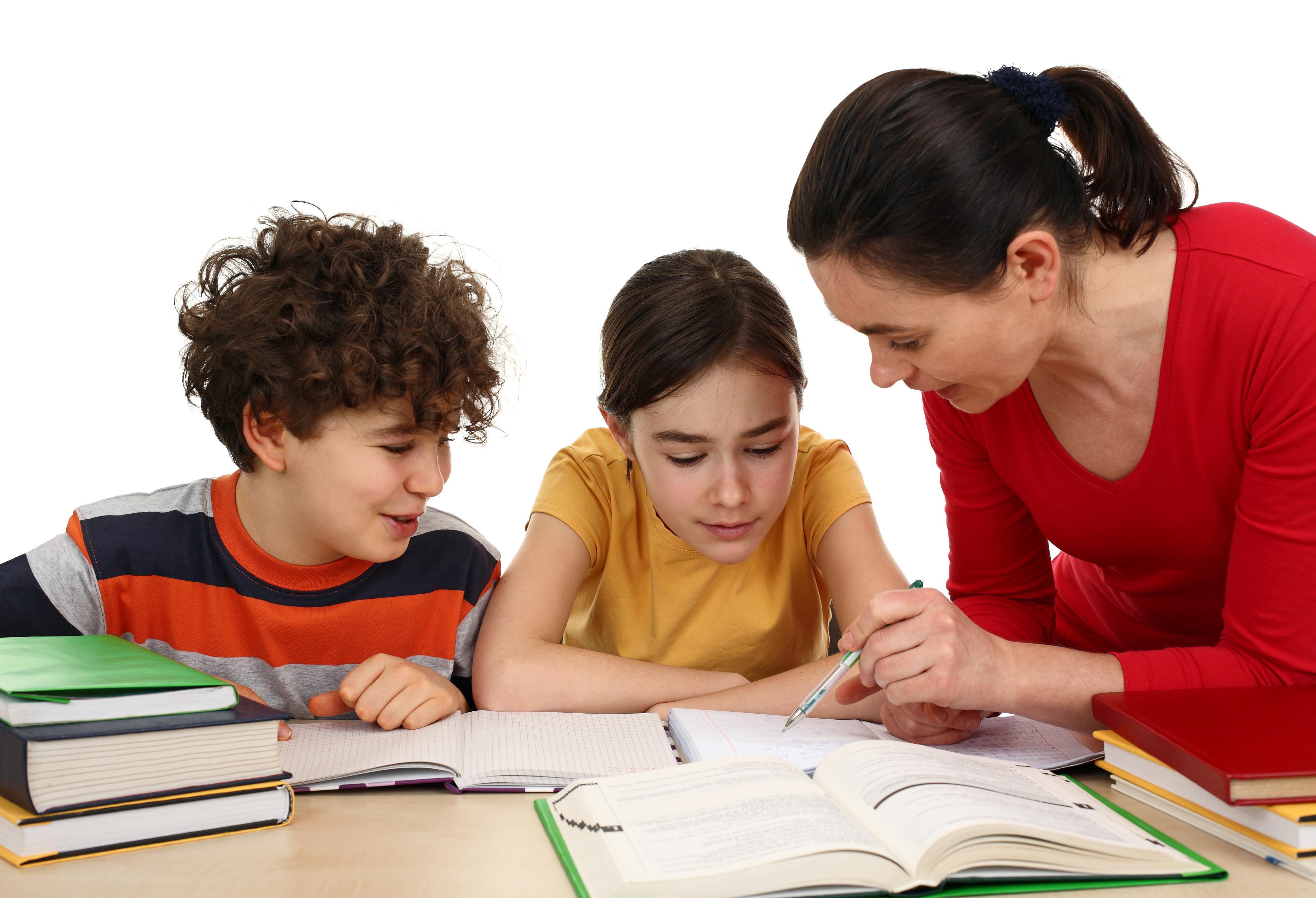 Kids doing homework isolated on white background